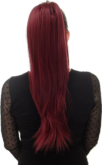 WIG ME UP- Extensión de pelo voluminosa lisa coleta clip tipo mariposa pequeño elástico pelo aprox. 60 cm rojo granate WK06-39