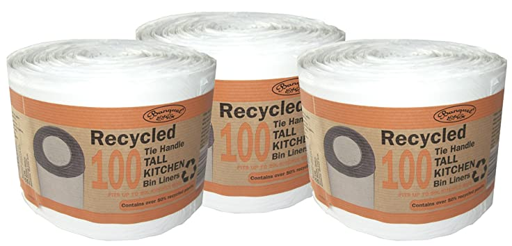 Amazon.com: 300 Recycled Tie Handle Tall Kitchen Bin Liners (Fits up ...