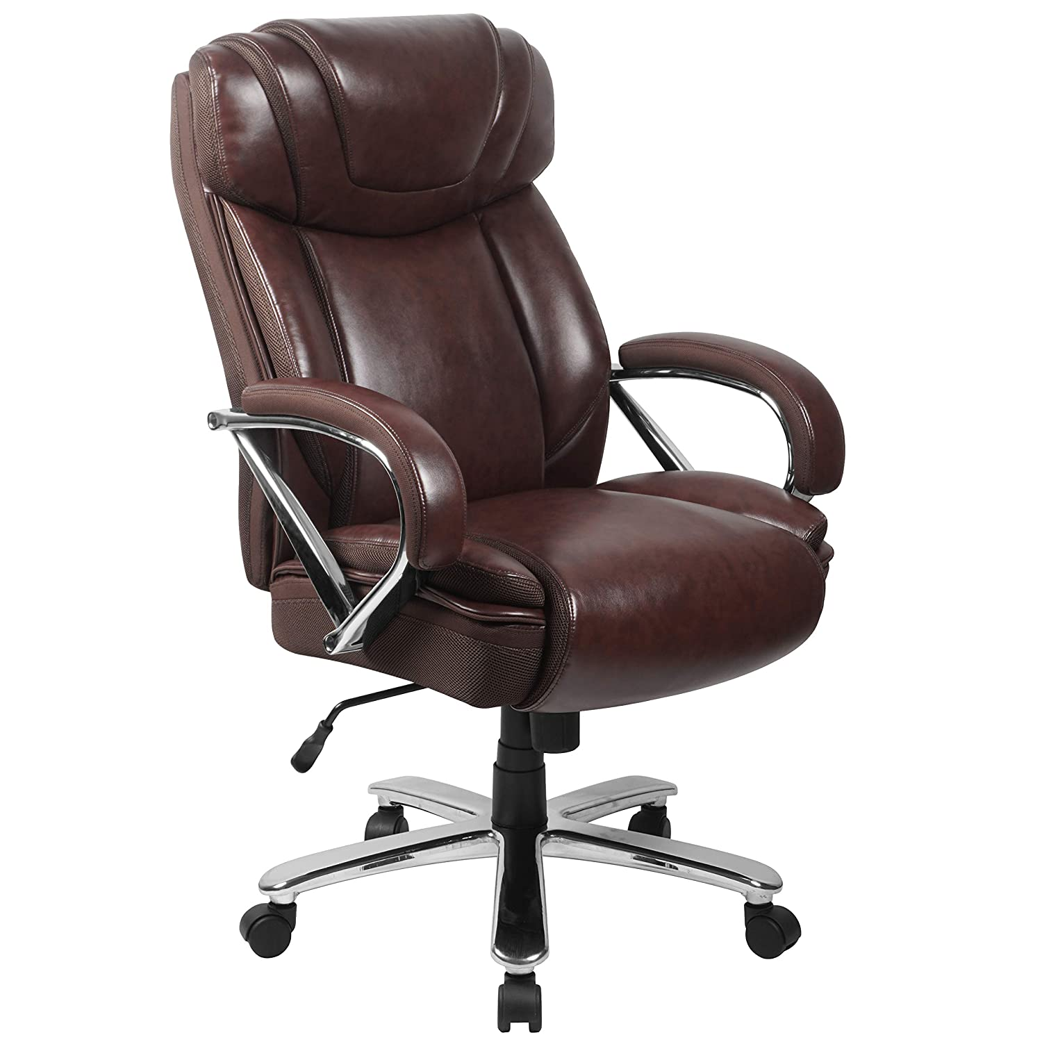 Flash Furniture HERCULES Series Big & Tall 500 lb. Rated Brown Leather Executive Swivel Ergonomic Office Chair with Extra Wide Seat