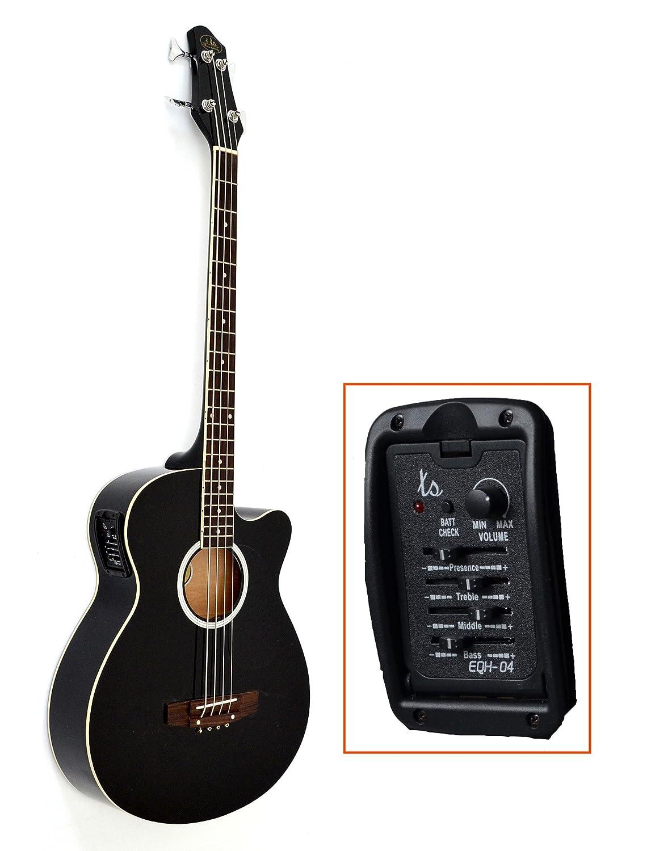 ts-ideen Akustik E-Bass mit 4 Band EQ Pickup Tonabnehmer Bassgitarre mit Ersatzsaiten 5217