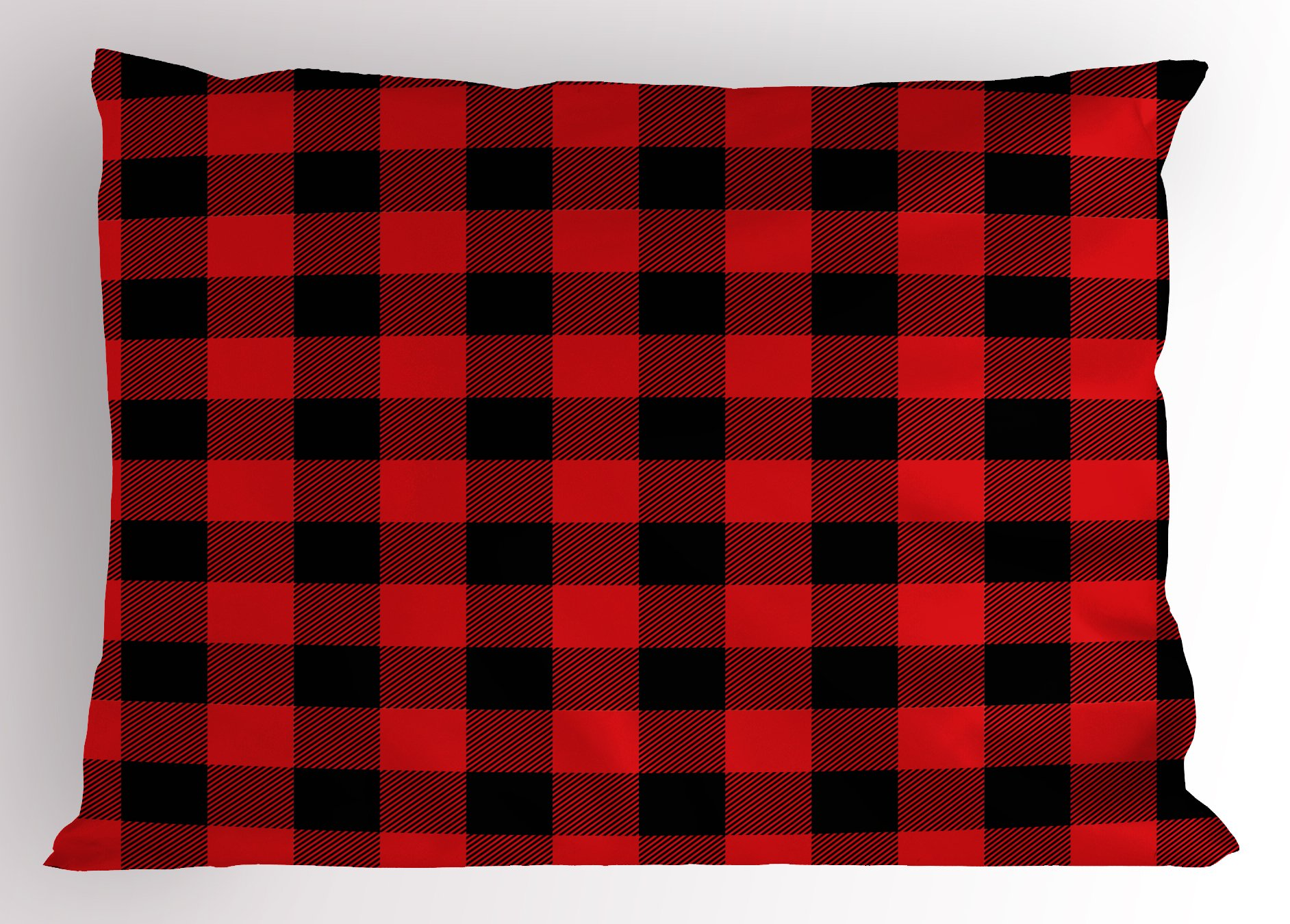 Ambesonne Plaid Pillow Sham, Lumberjack Fashion Buffalo Style Checks Pattern Retro Style with Grid Composition, Decorative Standard King Size Printed Pillowcase, 36 X 20 inches, Scarlet Black