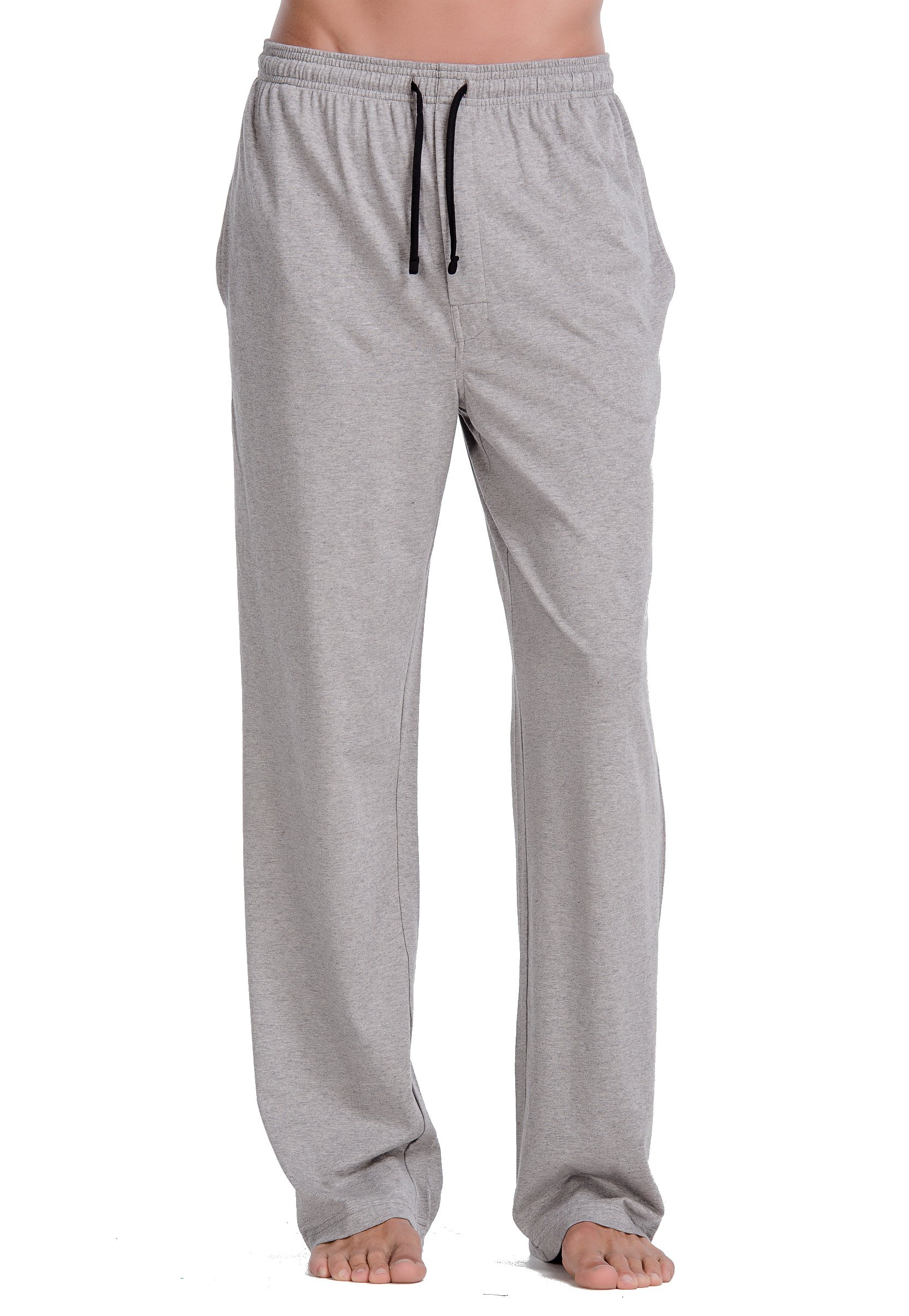 CYZ Comfortable Jersey Cotton Knit Pajama Lounge Sleep Pants -Melange Grey-M