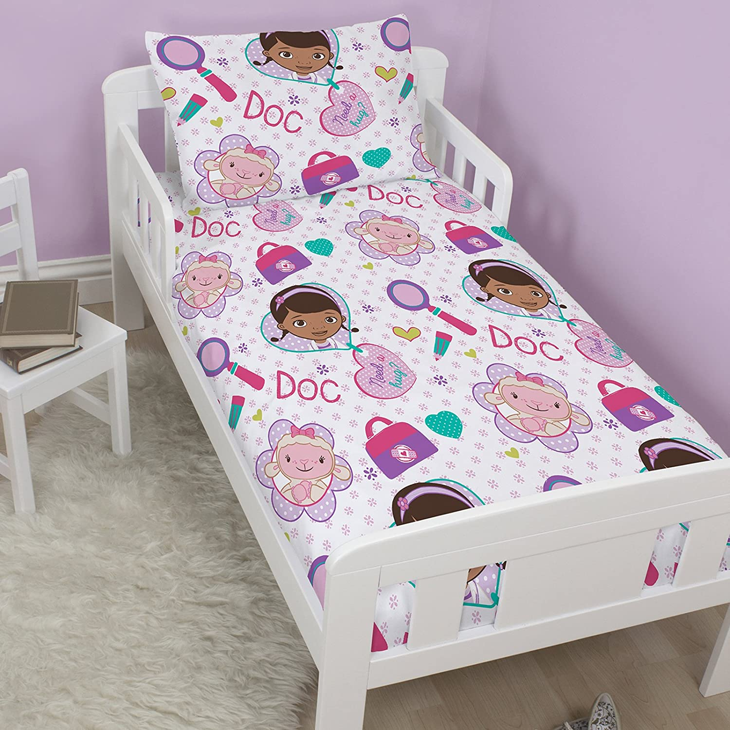 Disney Doc McStuffins Hugs Junior Toddler Rotary Duvet Cover & Pillowcase Set