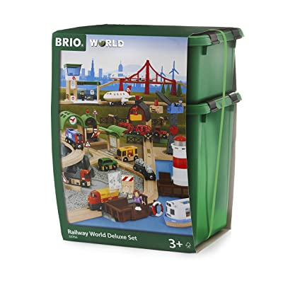 Brio World 33766 Railway World Deluxe Set | Wooden Toy Train Set For Kids Age 3 & Up: Toys & Games [5Bkhe1105835]