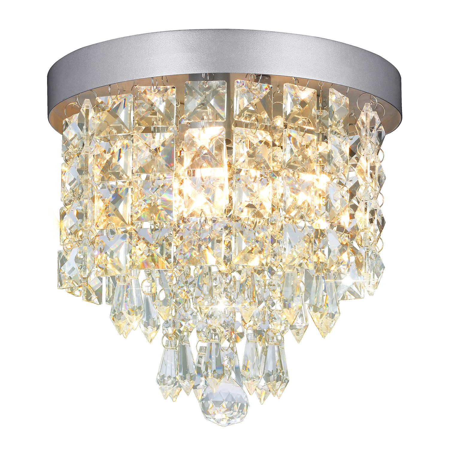Shine hai crystal chandelier 3 light modern flush mount ceiling pendant light h9 45 x w8 66 for bedroom living room dining room kitchen