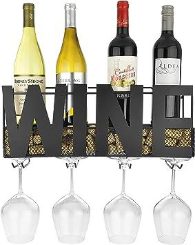 Botellero de metal para montar en la pared con 4 soportes para copas de tallo largo y almacenamiento de corchos de vino, de Thetford Design.: Amazon.es: Hogar