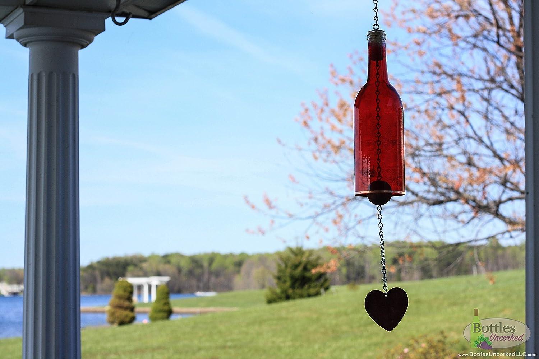 Red Wine Bottle Wind Chime - Yard Decor - Garden Gift - Wine Bottle Gift - Outdoor Decor - Glass Windchime - Wine Bottle Chime - Glass Chime