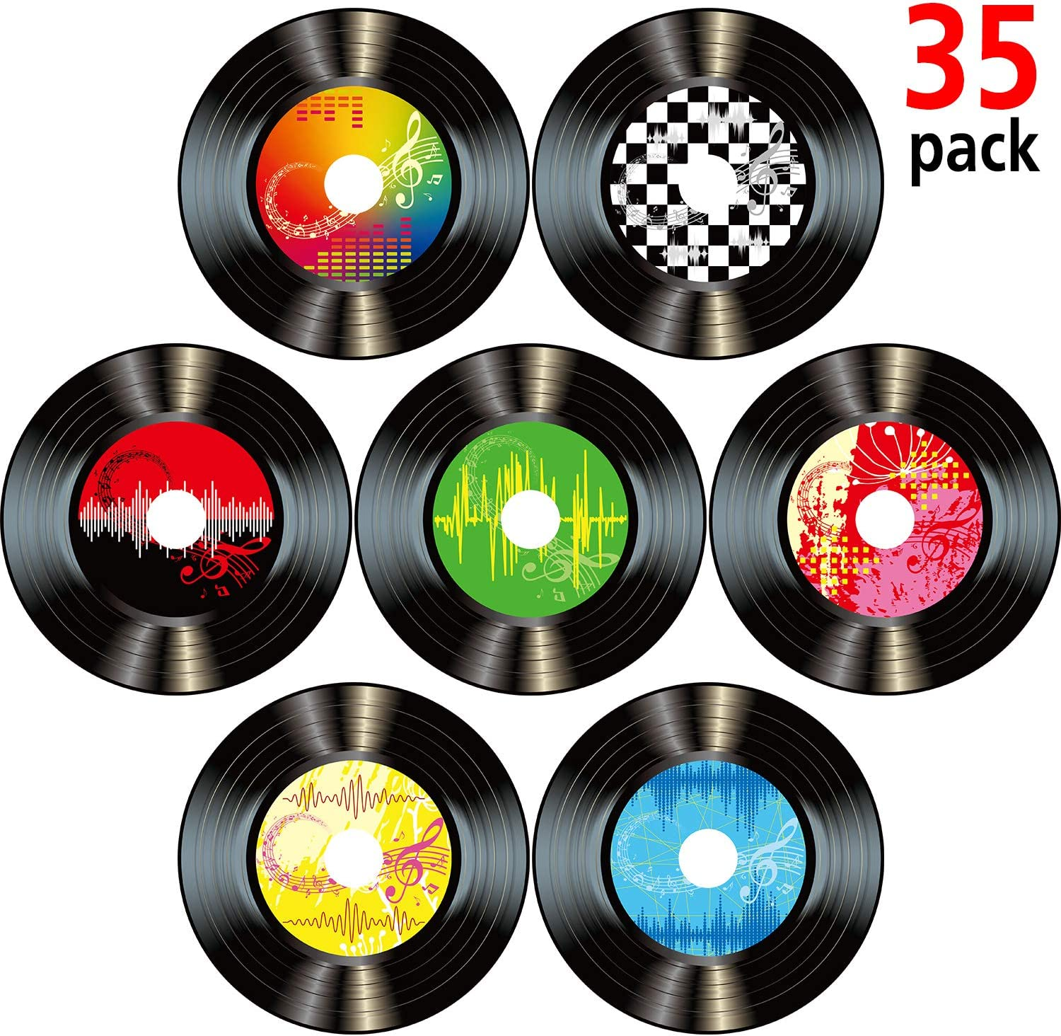 Boao 35 Pieces 7 Inch 1950's Rock and Roll Music Party Decorations Records Wall Decor Signs for 50's Theme Party Supplies Music Party Favors (Record Wall Decor)
