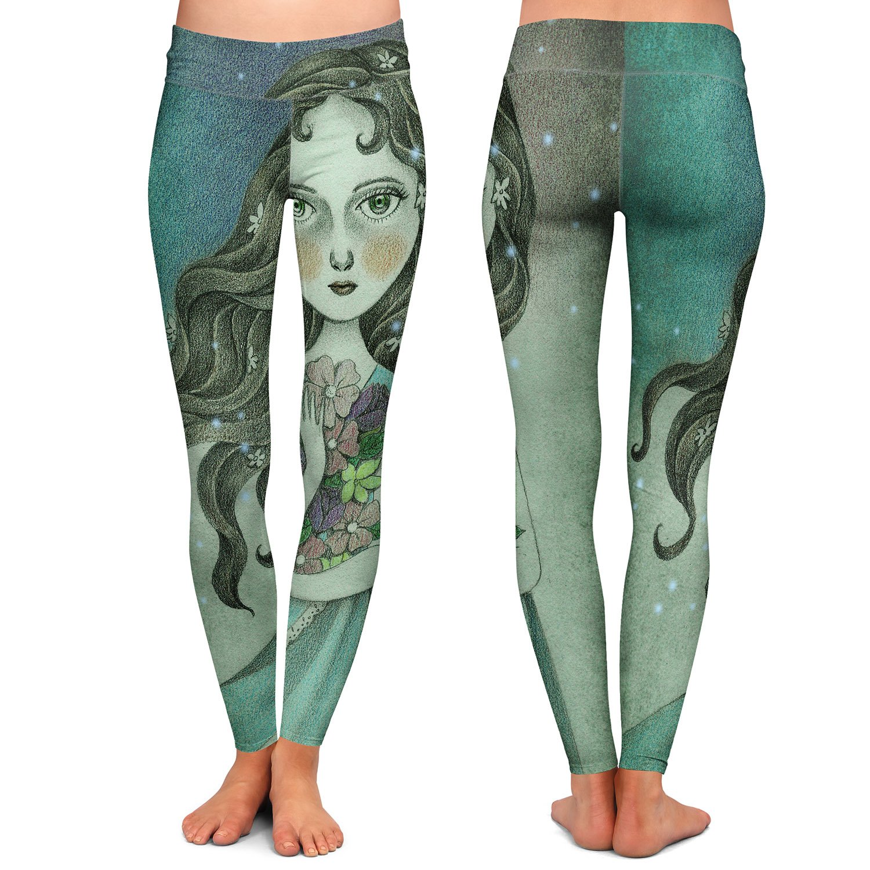 Athletic Yoga Leggings from DiaNoche Designs by Amalia K Flower Midnight God