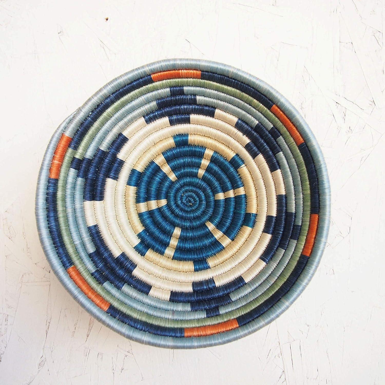 Small African Basket- Mwangaza/Rwanda Basket/Woven Bowl/Sisal & Sweetgrass Basket/Blues, Orange, Green, Creme, White