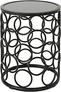 Christopher Knight Home Athena Indoor Modern 16 Inch Finish Side Table, Grey Ceramic Tile/Black Metal