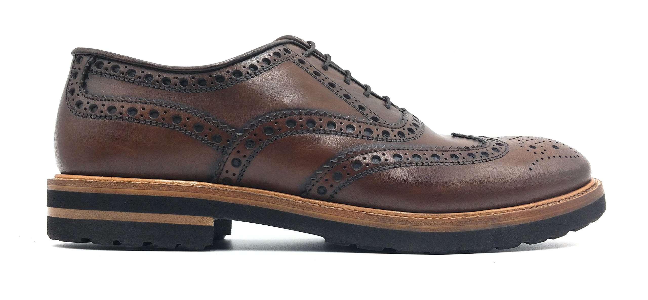 Antonio Maurizi Lugged Sole Calfskin Brogue Wingtip in Walnut (7 US/40 EU)