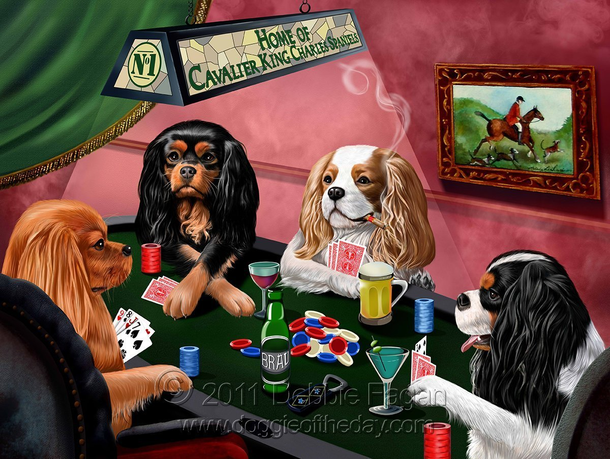 ホームof Cavalier King Charles Spaniels 4 Dogs Playing Poker Art Portrait Print Woven Throw Sherpa Plushフリース毛布 60x80 Woven B06XX2LF61  60x80 Woven