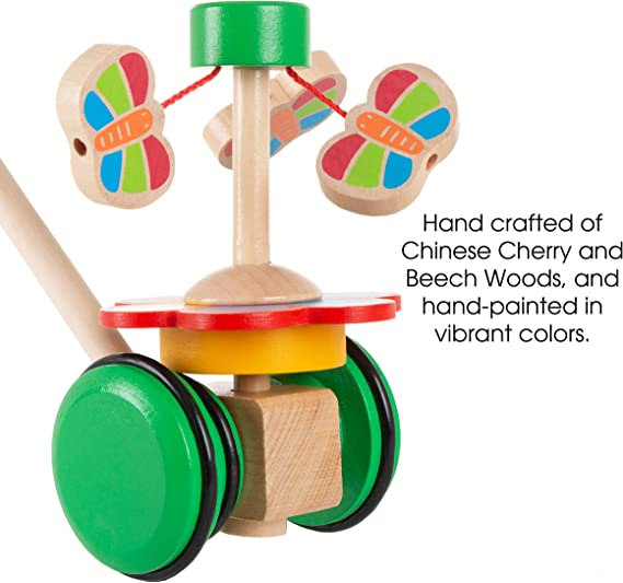 Old Fashioned Walk Along Butterflies with Handle for Indoor /& Outdoor Play Babies /& Toddlers 80-Z0017101002 Trademark Play Preschool Wooden Push /& Pull Toy Hey