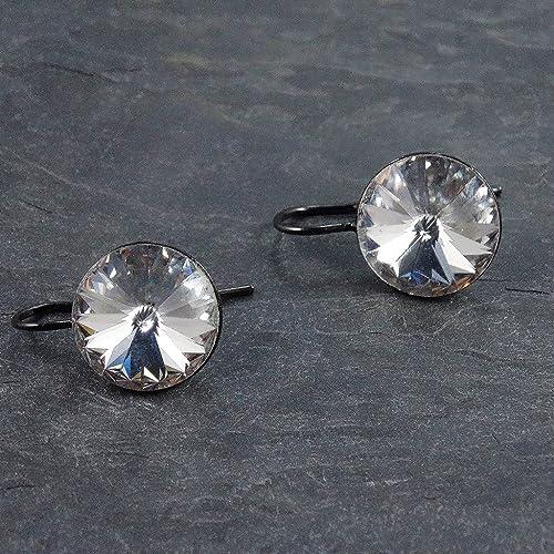 eb1085a74 Amazon.com: Swarovski Crystal Gunmetal Drop Earrings: Handmade