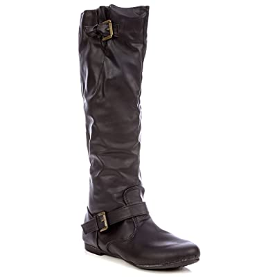 Pink Label Women's Zip-Up Ruched Knee-High Riding Boot