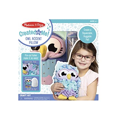 Melissa & Doug Created by Me Owl Accent Pillow Lacing Craft Kit (100 Fleece Buttons, 20 Lacing Cords): Toys & Games