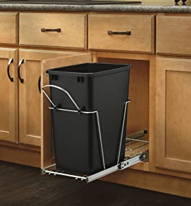 Rev-A-Shelf - RV-12KD-18C S - Single 35 Qt. Pull-Out Black and Chrome Waste Container with Rear Basket