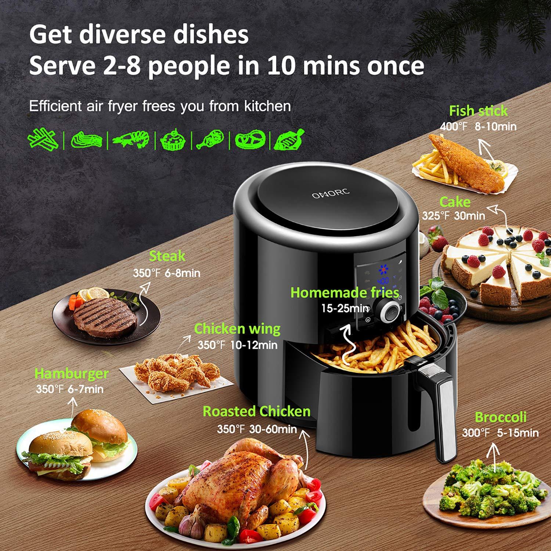 Amazon.com: OMORC Air Fryer XL 6QT (con utensilio de cocina ...