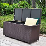 Outdoor Patio Wicker Storage Container Deck Box made of Antirust Aluminum Frames and Resin Rattan, 86-Gallon (Brown) (Large, Brown)