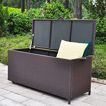 Outdoor Patio Wicker Storage Container Deck Box Made Of Antirust Aluminum  Frames And Resin Rattan,