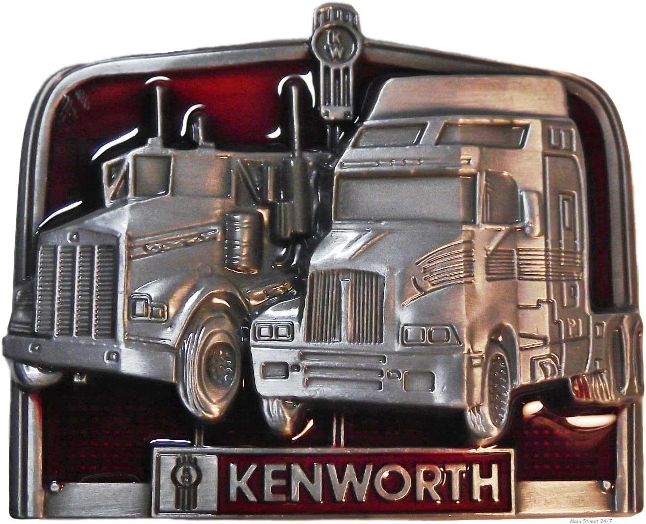 Main Street 24//7 Kenworth Trucks Pewter Finish Metal//Enamel Belt Buckle