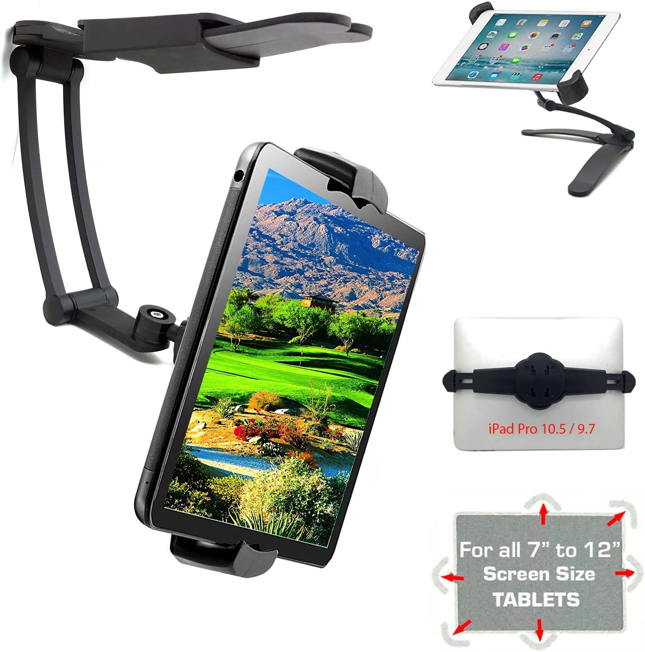 AYADA Kitchen Cabinet Tablet Holder 2 in 1 Wall Mount Desktop Stand for ipad 12.9 Aluminum Alloy Metal Adjustable Multiangle Foldable Universal Phone Tablet Bracket Cooking Table Counter Top Silver