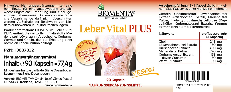 Biomenta HÍGADO VITAL PLUS - con CARDO DE LECHE, COLINA , DIENTE DE LEÓN, AJENJO, CÚRCUMA, ALCACHOFAS 90 VEGANO cápsulas de hígado - hígado-vitaminas: ...