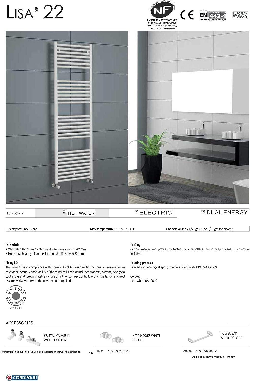 Cordivari Lisa Hydronic Towel Warmer White Straight Italy Design 24x48 Radiator