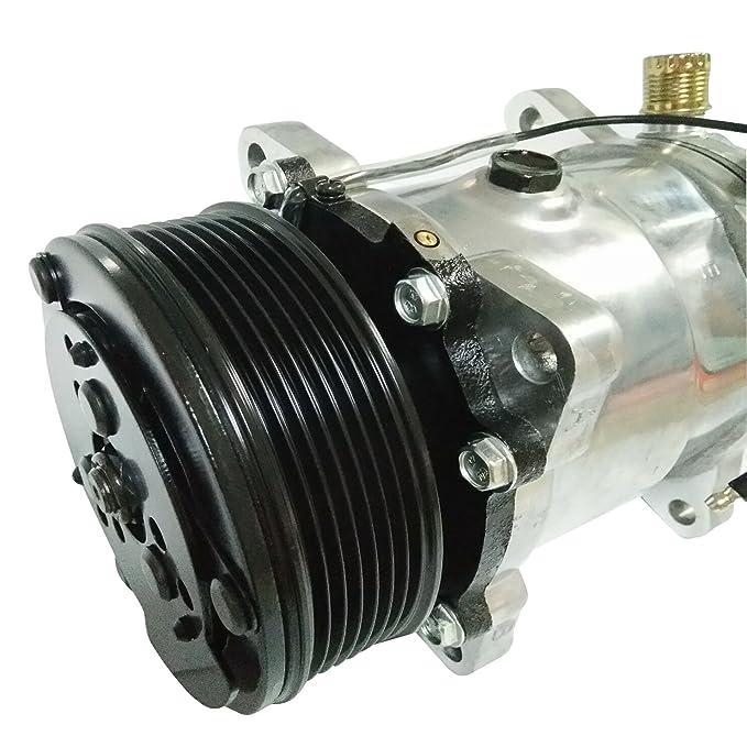 Universal a/c compresor con negro PV7 embrague Sanden 508 5h14 R134 a: Amazon.es: Coche y moto