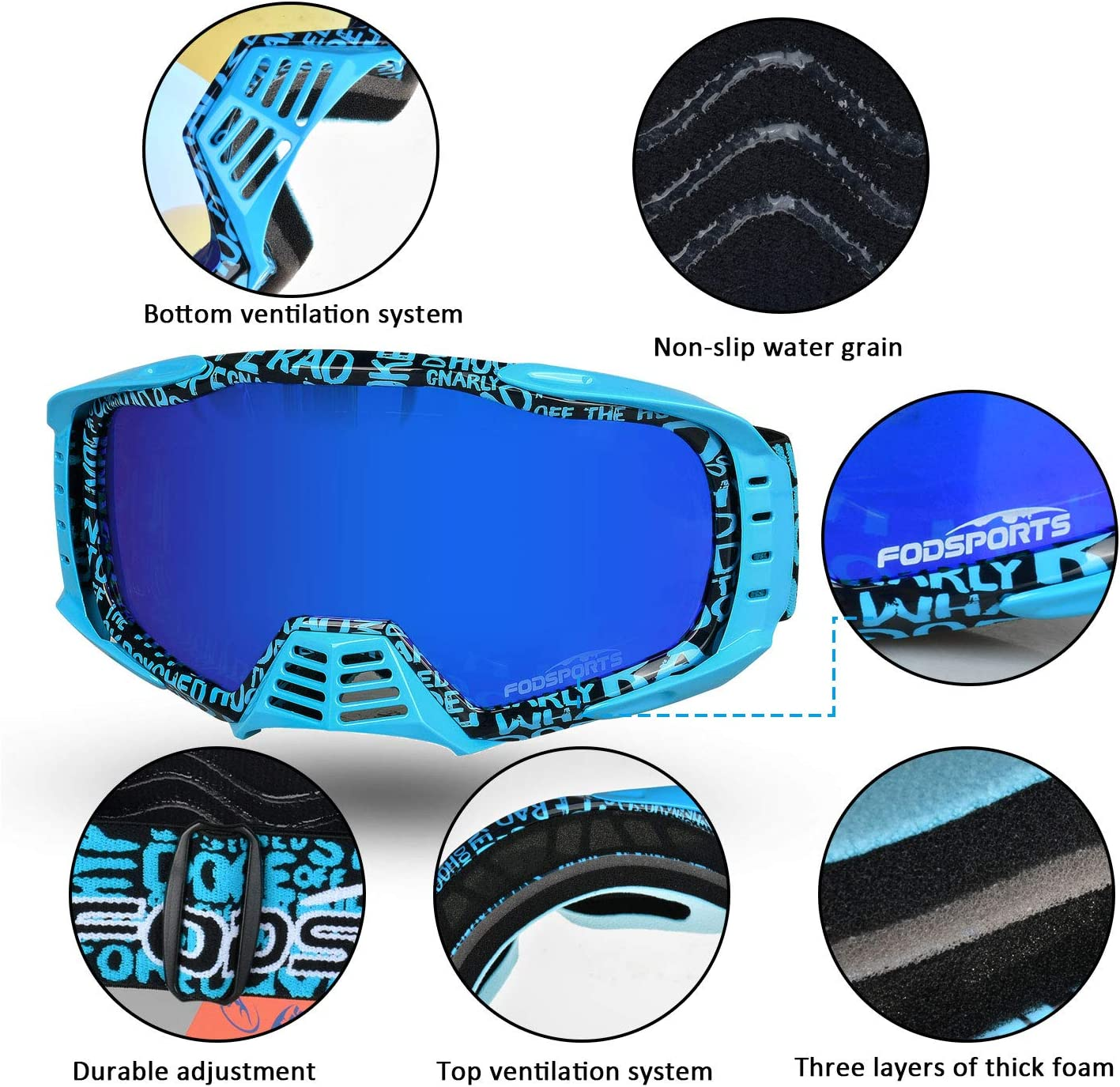 Red Fodsports Professional Motocross Goggles Anti-fog Dirt Bike ATV Goggles Anti-UV Adjustable Motorcycle Gafas for Skiing Cycling Riding
