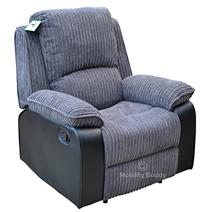 Enjoyable Positano Manual Recliner Chair Grey Fabric Bonded Leather Alphanode Cool Chair Designs And Ideas Alphanodeonline