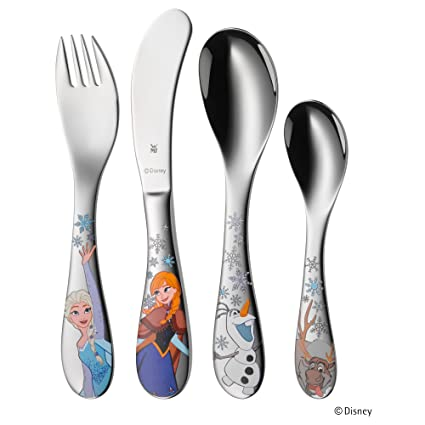 WMF Disney Frozen - Cubertería para niños 4 piezas (tenedor, cuchillo de mesa,