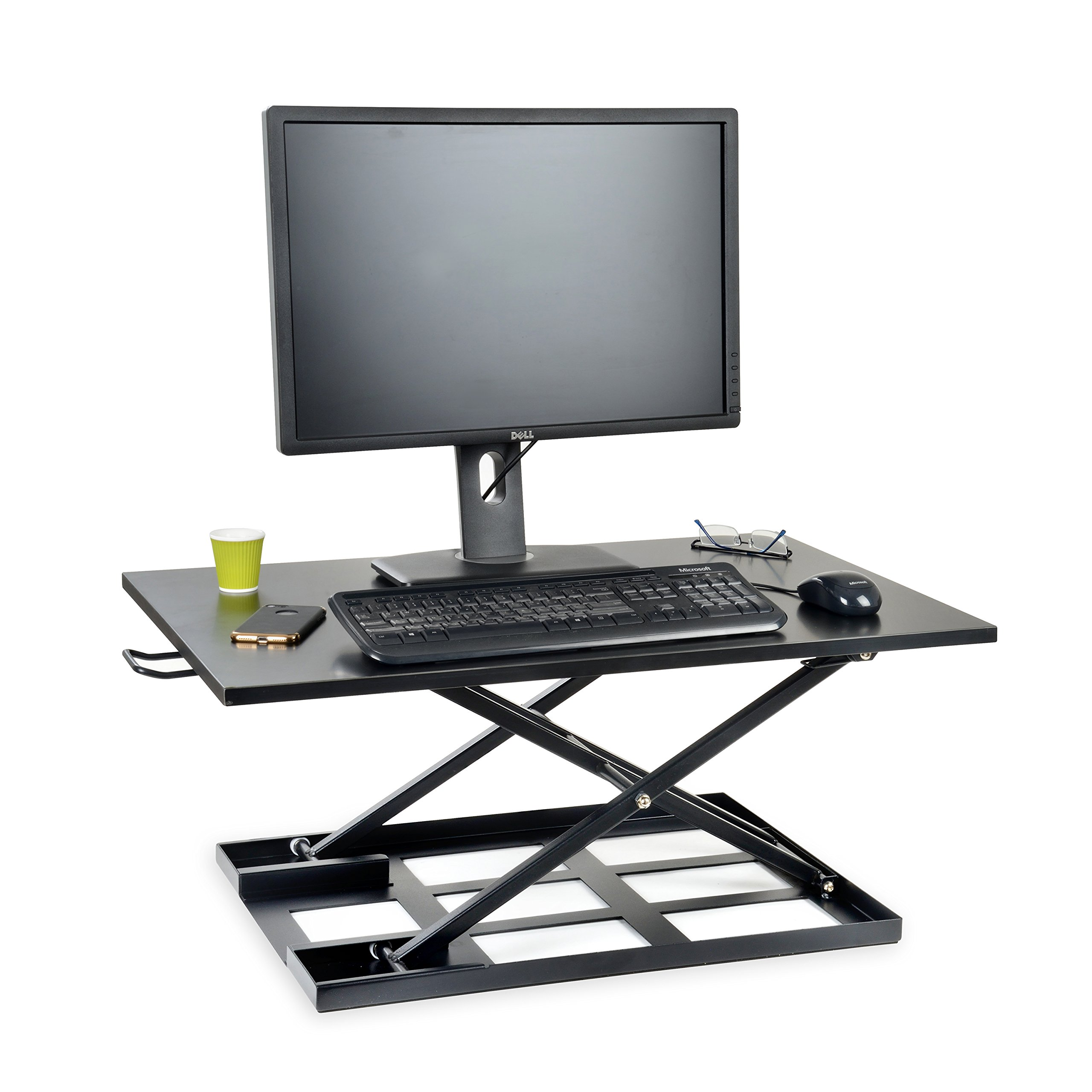 Best Standing Desk, Adjustable Height Riser Converter, Stand Up or Sit Down, 32'' Black Office Desktop, Computer Monitor & Laptop Workspace, Unlimited Ergonomic Positions for Better Health, Casiii UP32 by Casiii (Image #1)