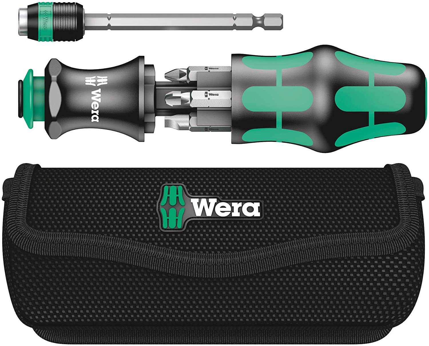 Wera 05051024001 Kraftform Kompakt 25 Slotted and Phillips BithoCSLDing Screwdriver with Bayonet Blade and Pouch Wera Tools