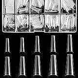 Clear Acrylic Nail Tips - Coffin Nail Tips BTArtbox 500pcs Artificial Ballerina shaped Fake Nails Half Cover False Nail with