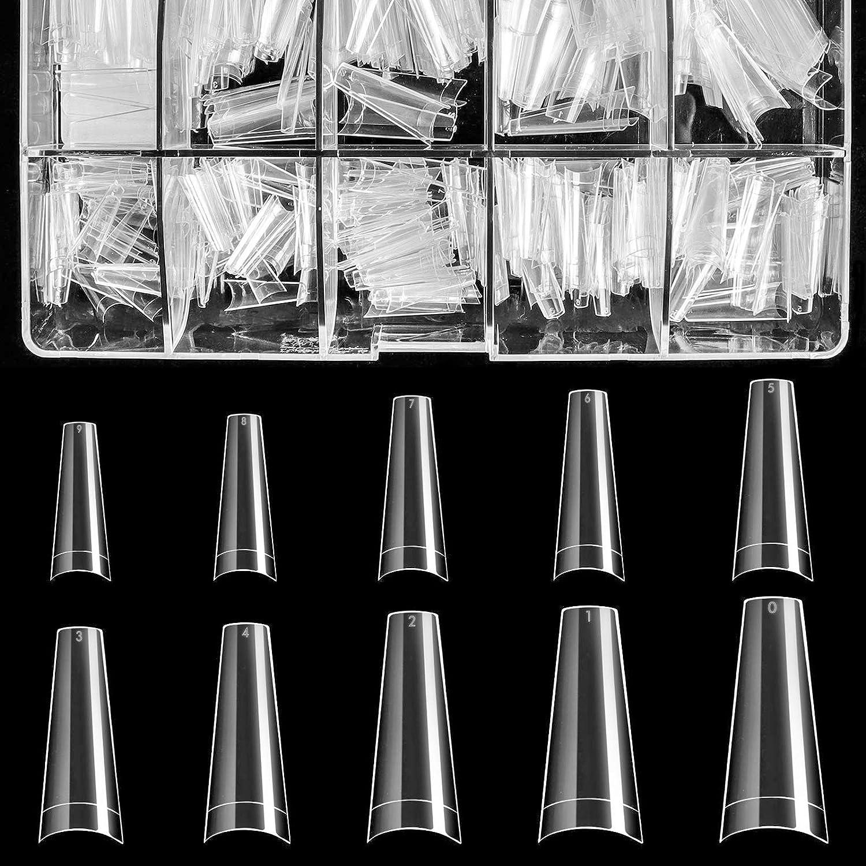 Clear Acrylic Nail Tips - Coffin Nail Tips BTArtbox 500pcs Artificial Ballerina shaped Fake Nails Half Cover False Nail with Case for Nail Salons and DIY Nail Art, 10 Sizes: Beauty