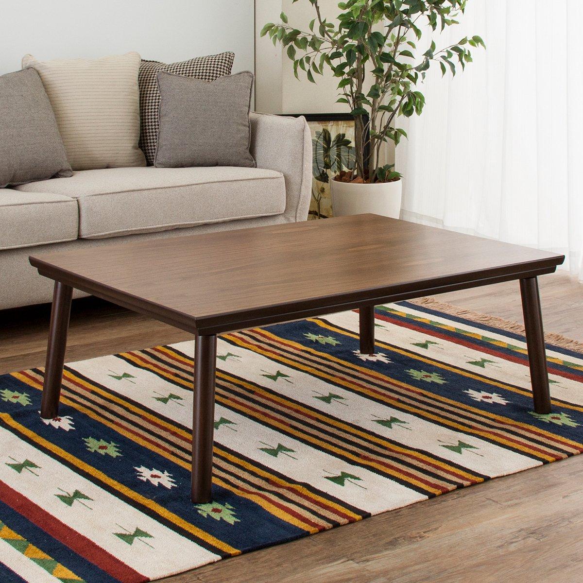 こたつ こたつテーブル テーブル 可愛い お洒落 北欧風 天然木 ウォールナット 木 木材 木目 木製 シンプル ナチュラル モダン ヒーター ブラウン オールシーズン 長方形 【w105×D75×H38cm】 B075SVC3QP