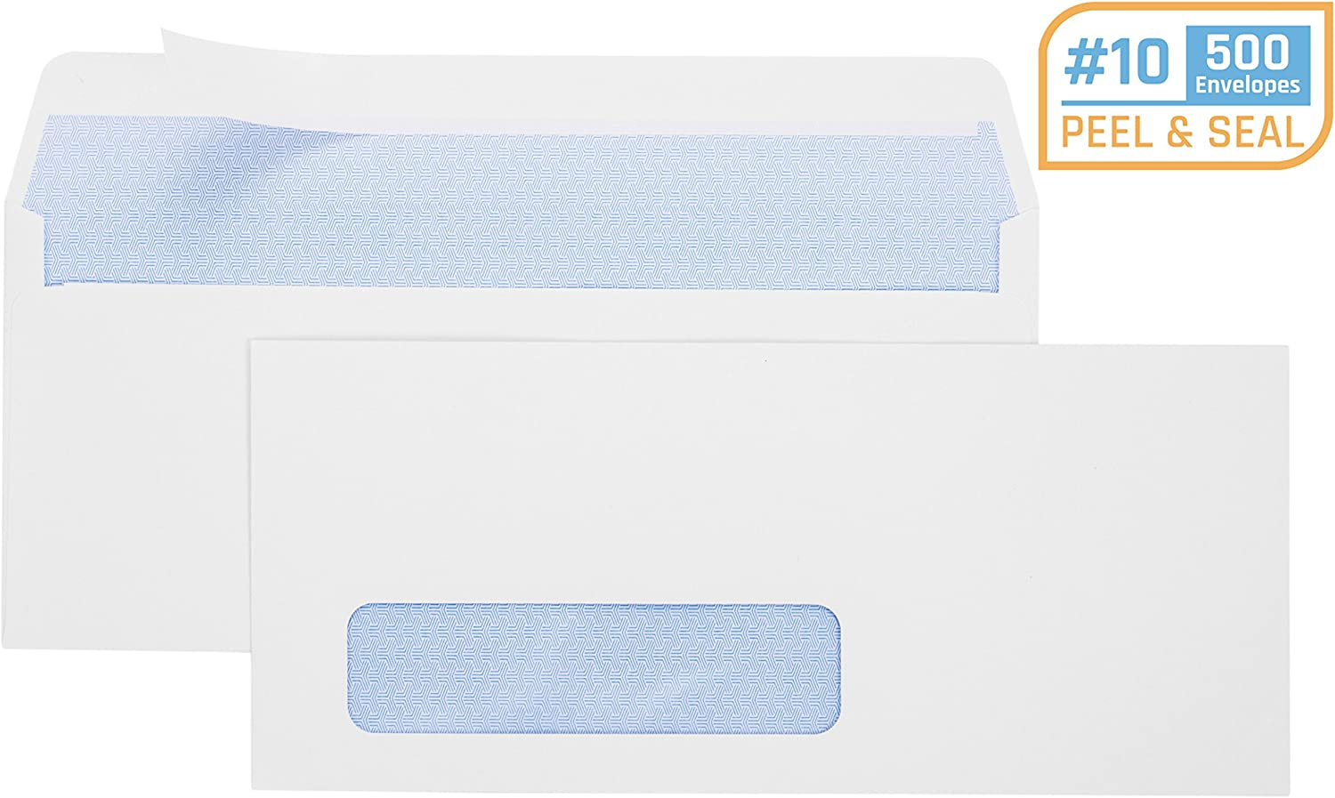 Office Deed 500 #10 Envelopes SELF SEAL Business Envelope Single Window Design, Security Tint Pattern for Secure Mailing, Invoices, Statements & Legal Document, 4-1/8 x 9-1/2 Inches