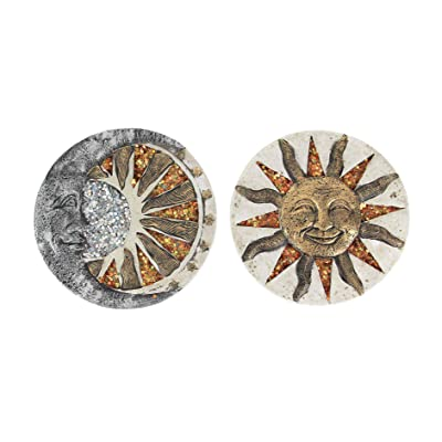 Chesapeake Bay Ltd Set of 2 Ceramic Sun Moon Stepping Stones Hanging Garden Walkway Decorative Art : Garden & Outdoor
