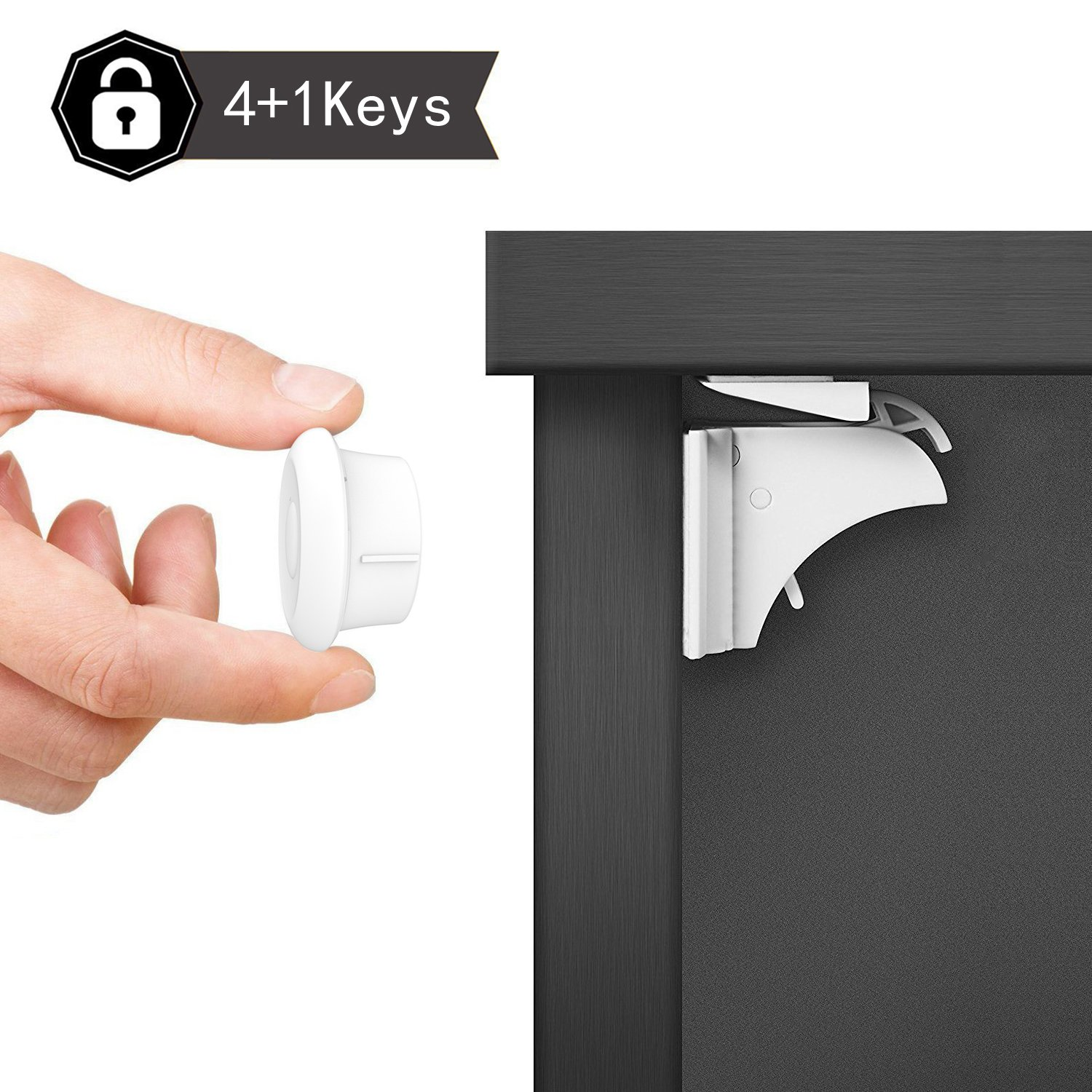 Dokon Child Safety Magnetic Cupboard Locks (10 Locks + 2 Keys), No Tools Or Screws Needed, Baby Safety Locks for Cabinets and Drawers