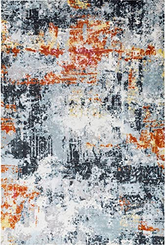 Decomall Vienna Modern Distressed Vintage Watercolor Abstract Bohemian Persian Shabby Chic Area Rug for Living Room, Bedroom, 8×10 ft, Multicolor