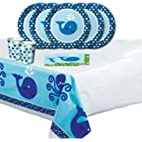 Ocean Preppy Whale Childrens Birthday Party Tableware Pack for 16