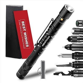 Tactical Pen 11 In 1 Cool Gadgets Avantools Led Flashlight Screw Driver Hexagonal Wrench Bottle Opener Whistle Window Breaker Compass 4 Black Refills 9 Batteries Gift Box Amazon Com