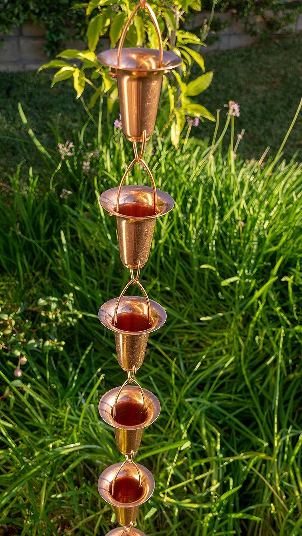 8-Feet Stanwood Rain Chain Bell//Cup Shaped Copper Rain Chain