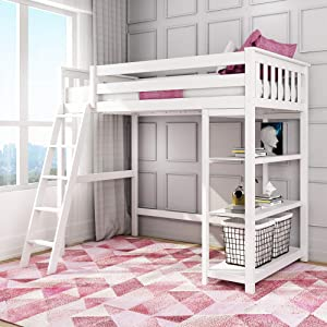 Max & Lily Solid Wood Twin-Size High Loft Bed with Bookcase, White