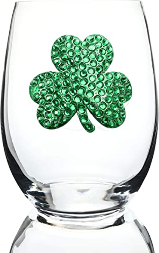 THE QUEENS JEWELS Shamrock Jeweled Stemless Wine Glass - Unique Gift for Women, Birthday, Cute, Fun, St Patricks Day, Not Painted, Decorated, Bling, Bedazzled, Rhinestone