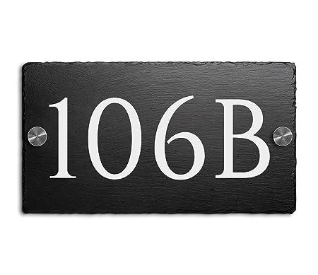 Placa de pizarra con número de casa y nombre de calle, 18 x 10 cm ...