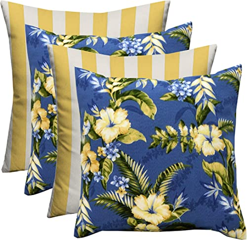 RSH D cor Indoor Outdoor Yellow Mix Set of 4-20 x 20 Square Pillow Set Weather Resistant – Choose Pillow Color 2-Freeport Summer Blue Yellow Floral 2-Yellow Stripe Mixed Pillow Set