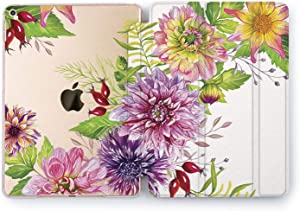 Wonder Wild Case Compatible with Apple iPad Floral Bud Mini 1 2 3 4 Air 2 Pro 10.5 12.9 Tablet 11 10.2 9.7 inch Fresh New Shell Stand Peony Summer Flower Pretty Sweet Beautiful Tulips Leaves Sun